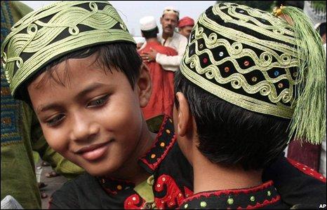 Children hug each-other after Eid prayer