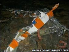 Wreckage of the Fossett plane. Madera County Sheriff's Department handout
