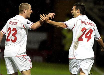 "Nancy-Lorraine""s Benjamin Gavonon celebrates his goal with Jonathan Brison"