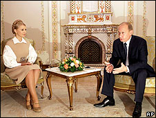 Yulia Tymoshenko and Vladimir Putin meet on 2 October at Novoogarevo, near Moscow