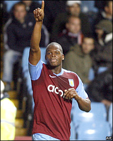 Marlon Harewood celebrates scoring Villa's first goal