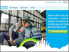 Screen grab of Skype website