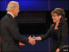 Joe Biden and Sarah Palin at the debate in Missouri