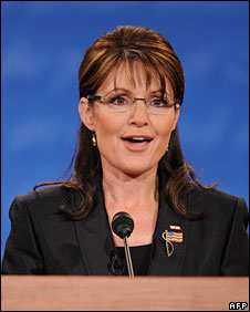 Sarah Palin takes part in the debate in Missouri, 2 Oct