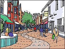 An artist's sketch of a refurbished Maidenhead High Street