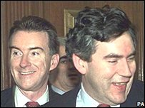 Gordon Brown and Peter Mandelson in 1998