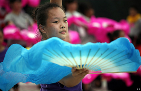 A performer practises her routine ahead of a performance next week on Taiwan's National Day in the capital, Taiwan.