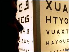 Woman having an eye test (file photo)