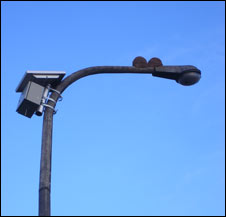 Green wi-fi installed on a lamppost