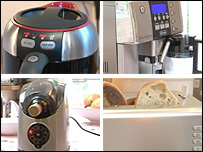 Philips kettle, Delonghi PrimaDonna coffeemaker, Cooper Cooler wine cooler, Kenwood Virtu toaster
