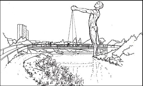 Drawing of the Bigman sculpture