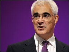 Alistair Darling addressing the Labour Party Conference
