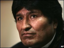 File photograph of Bolivian President Evo Morales