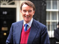 Peter Mandelson outside 10, Downing Street
