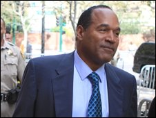 OJ Simpson arrives for the start of closing arguments in his trial in Las Vegas