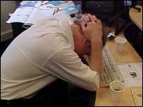 Empleado estresado