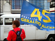 Campaigning on streets of Sao Paulo