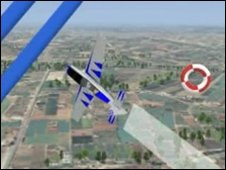 Gamers and real pilots can see their virtual opponents - a virtual plane flying through a virtual obstacle