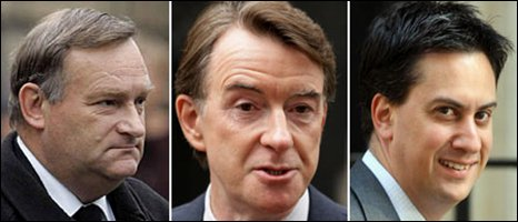 Nick Brown (l), Peter Mandelson (c) and Ed Miliband are all in the new Cabinet. Pictures: PA