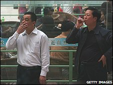 Men smoking in China (file image)