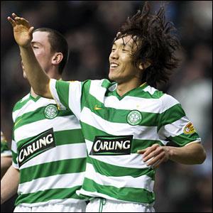 Celtic's Shunsuke Nakamura celebrates his second goal of the season