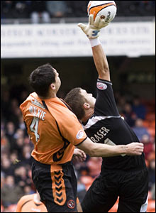 Dundee Utd defender Lee Wilkie (left) and Inverness CT keeper Michael Fraser