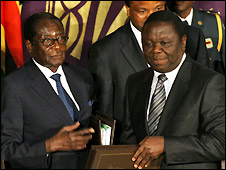 Robert Mugabe (L) and Morgan Tsvangirai - 15/09/2008