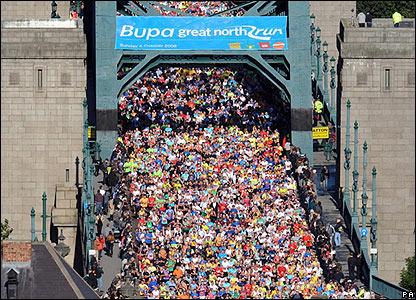 Competitors cross the Tyne Bridge