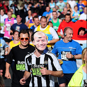 Newcastle favourite Alan Shearer makes an appearance in mask form