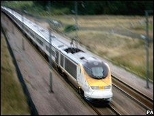 Eurostar star heading from Brussels to London