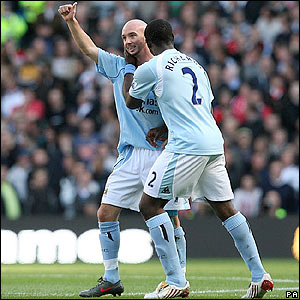 Stephen Ireland celebrates giving Manchester City into the lead