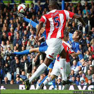 Peter Crouch fires Pompey into the lead with a stunning overhead kick