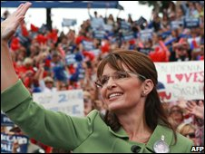 Republican vice-presidential candidate Sarah Palin at a rally in California (05/10/2008)