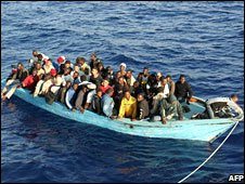 African migrants in a boat