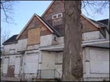 Boarded up house in Flint, Michigan