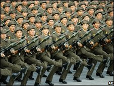 North Korean soldiers parade through Kim Il Sung Square in Pyongyang, North Korea, Tuesday, Sept 9, 2008.