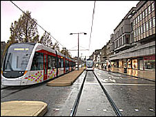 Tram in Princes Street (artist impression)