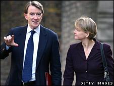 Peter Mandelson and Yvette Cooper