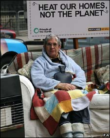 Mary Phillips, 72, protesting against fuel poverty