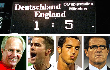 Clockwise, from top: The scoreboard in Munich in 2001; England coach Fabio Capello; Theo Walcott, who scored a hat-trick in Croatia; Michael Owen, hat-trick hero in Munich; then England boss Sven-Gora