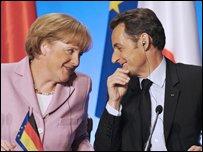 German Chancellor Angela Merkel and French President Nicolas Sarkozy in Paris on Saturday