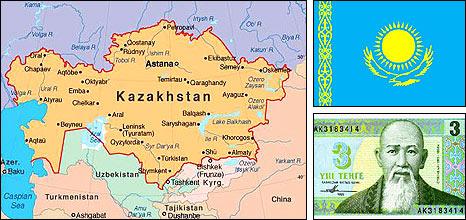 A map of Kazakhstan; the Kazakhstan flag (top right); a Kazakhstan banknote (bottom right)