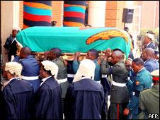 The late Zambian President Levy Mwanawasa's casket