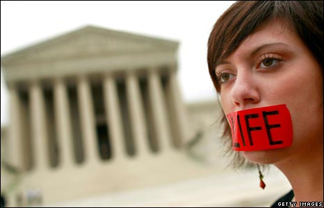 Anti-abortion demonstrator Belinda Yoder at a protest outside the Supreme Court in Washington DC