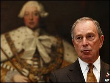 Michael Bloomberg, the mayor of New York, gestures as he speaks during a press conference in London