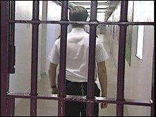 A prison guard and bars