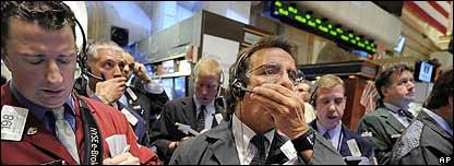 Operadores en Wall Street.
