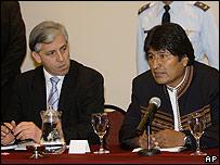 Morales y su vicepresidente