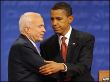 John McCain (left) stands with Barack Obama after their first debate on 26 September