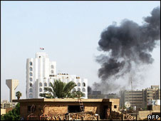 Smoke rises the scene of the bomb attack near Baghdad's Green Zone